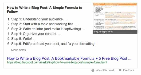 List Featured Snippet